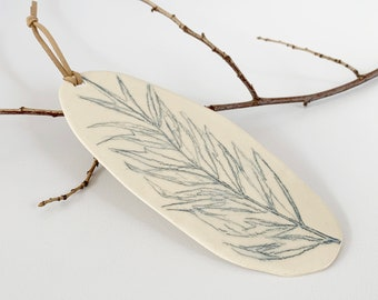 Leaf ceramic wall decor - stoneware wall art - ceramic wall hanging