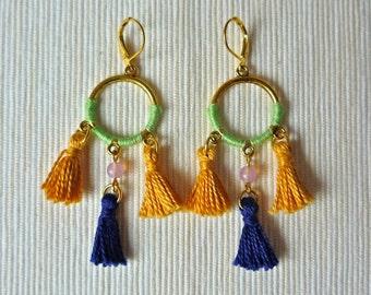 Boho Tassel Earrings - Dangle and drop earrings - open circle golden earrings - tribal - ethnic