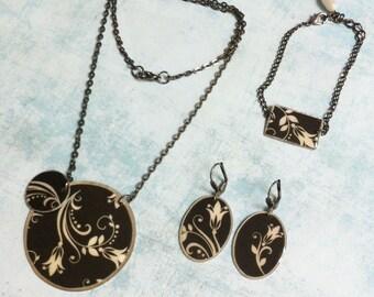 Jewelry Set - Necklace,Bracelet & Earrings - paper jewelry - geometric jewelry - asymmetric jewelry - floral jewelry - sale