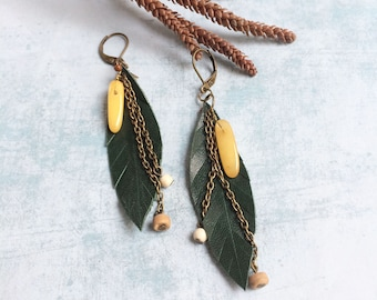 Green leather leaf earrings with chains - long bohemian earrings - leather and gems - boho jewelry - tribal jewelry - gift for her