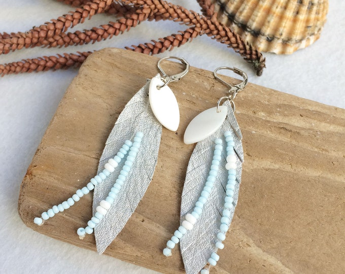 Silver leather feather earrings - boho earrings - fringe earrings - beach jewelry - boho chic - mother of pearl - seed beads - gift for her