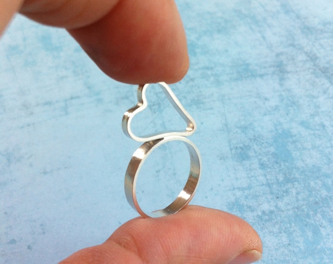 Heart silver  midi ring - Small ring to fingertip - heart shape ring minimalist