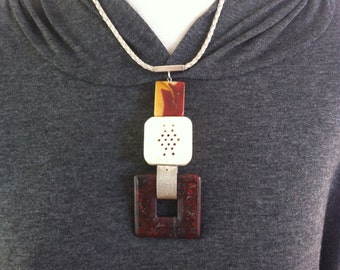 Statement Jasper and Silver necklace - bold natural stone pendant necklace - square tribal pendant - geometric stone jewelry - gift for her