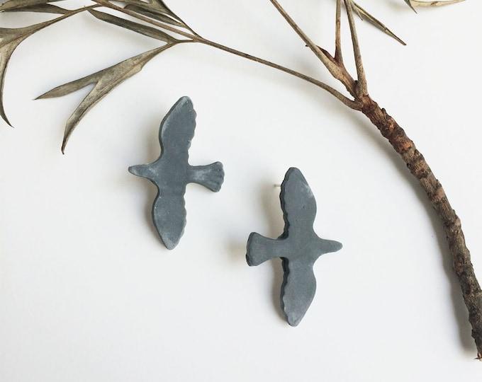 Ceramic bird earrings - stud bird earrings - glazed matte gray - stoneware - ceramic jewelry - nature inspired jewelry - flying bird jewelry