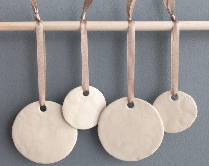 Set of 4 ceramic circle ornament - decorative ceramic circle to hang - home decor