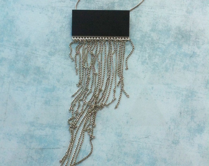 Chains Necklace - geometric - statement necklace - gift for her - rock style - tassel
