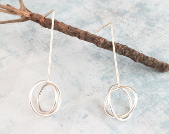 Open circles long bar earrings - geometric sterling silver earrings - modern jewelry - minimalist contemporary jewelry - gift for her