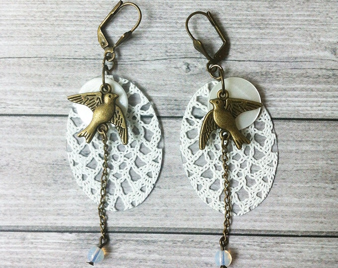 Boho Earrings - Lace earrings - drop and dangle - golden birds earrings - mother of pearl earrings - hook lace earrings - clip on earrings