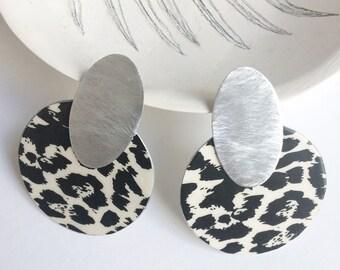 Statement leopard print earrings - modern geometric paper earrings - unique large circle earrings