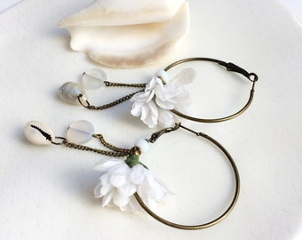 White flower hoop earrings - cowrie shell earrings - brass boho flower earrings