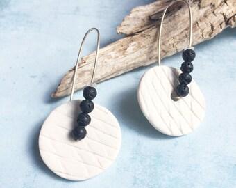 Modern porcelain circle earrings - black lava earrings