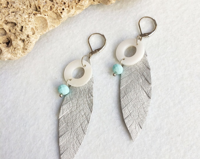 Silver leather feather earrings - boho feather earrings - tribal earrings - mother of pearl - beach jewelry - leather jewelry - gift for her