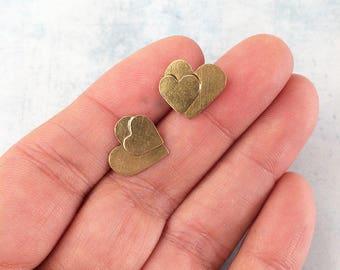 Double heart stud earrings - Brass stud heart earrings - golden hearts earrings