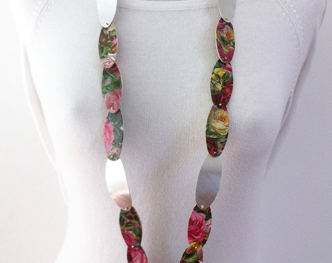 Statement floral necklace -Paper jewelry, wood paper and aluminum necklace -long necklace - floral jewellery - roses necklace - gift for her