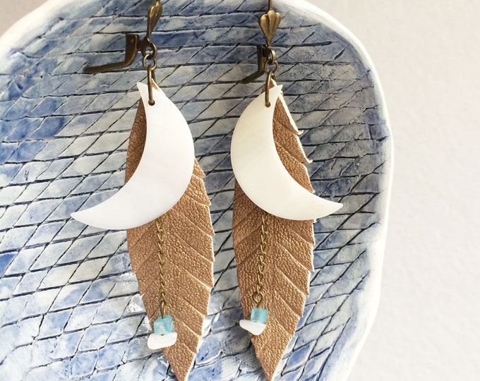 Gold leather feather earrings - tribal moon earrings - boho earrings - crescent moon  - beach jewelry - mother of pearl - gift for her