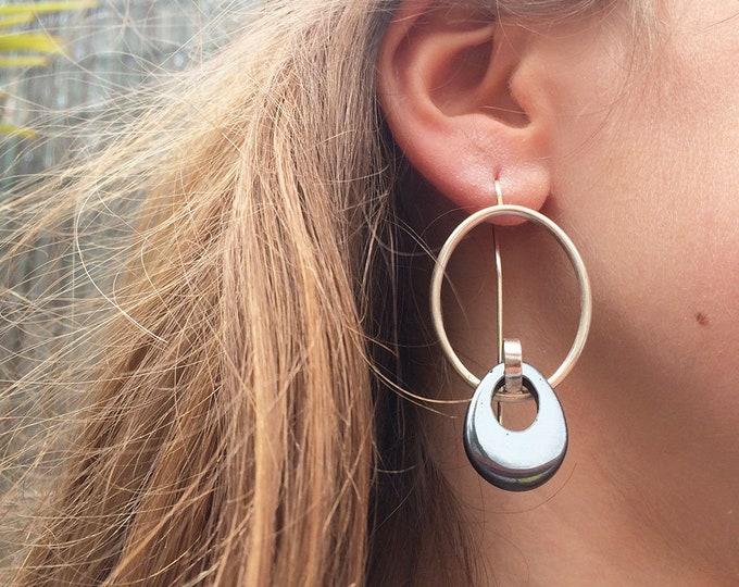 Big statement oval earrings - modern hematite earrings - large geometric silver earrings - contemporary gemstone jewelry - gift for her