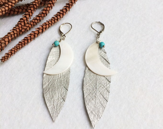 Silver leather feather earrings - tribal moon earrings - boho earrings - crescent moon  - beach jewelry - mother of pearl - gift for her