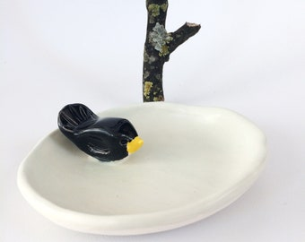Black bird ring dish - ceramic jewelry dish - small decorative plate - handmade bird ceramics- rustic home decor - housewarming gift for her