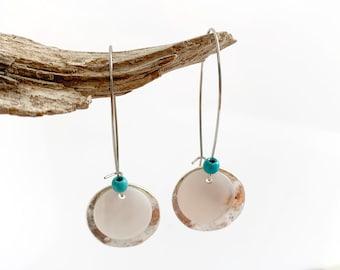 Disc earrings - Mother of pearl earrings - long hook earrings