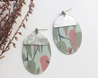 Geometric floral earrings - tropical leaf oval earrings