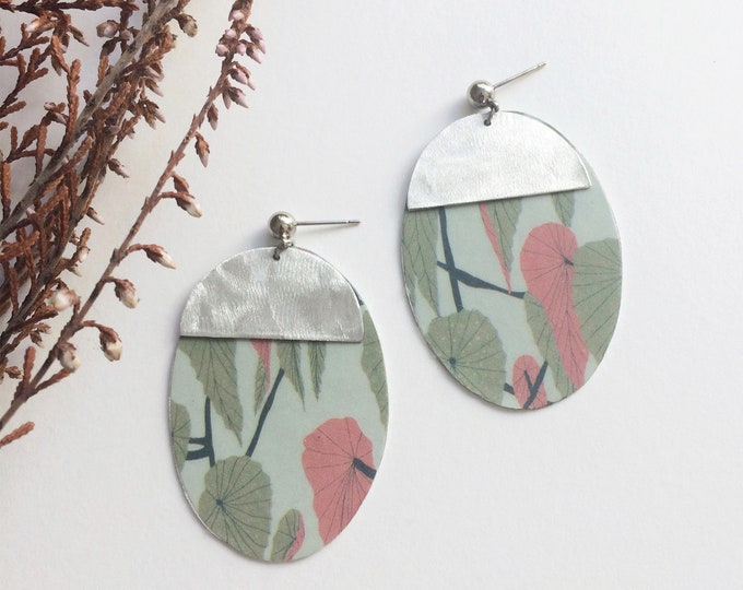 Geometric floral earrings - big oval dangle earrings - statement paper earrings