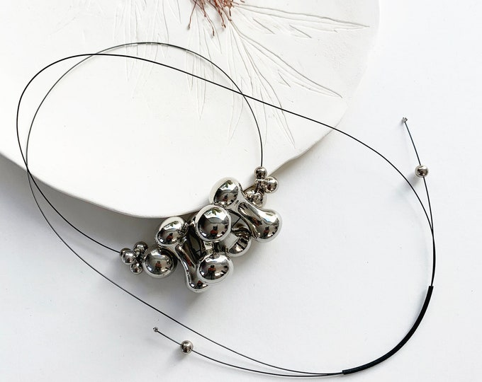 Long minimalist bunch bead necklace - modern asymmetrical bubble necklace