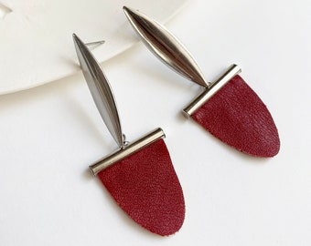 Statement faux leather earrings - geometric tribal inspired earrings