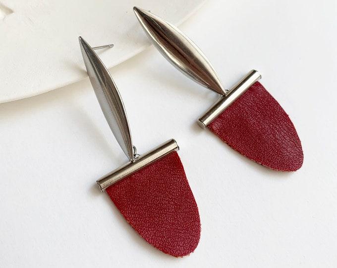 Statement faux leather earrings - geometric tribal inspired earrings
