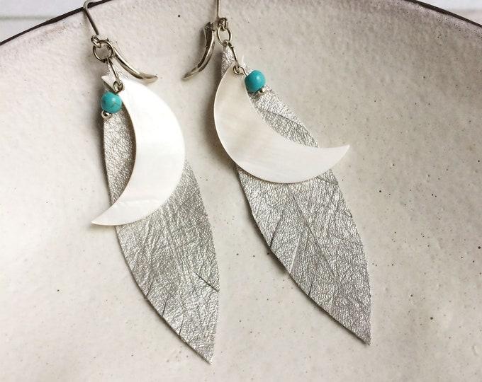Crescent moon earrings - silver leather leaf earrings