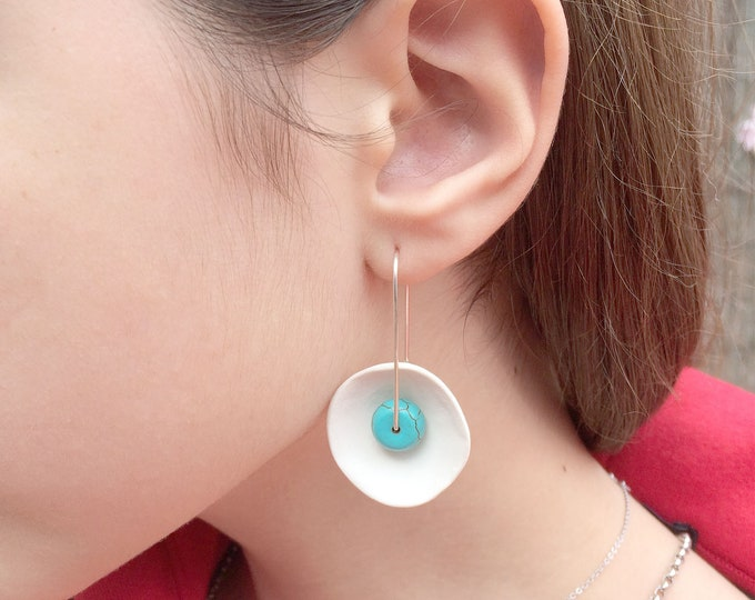 Statement porcelain and turquoise earrings - modern ceramic circle earrings