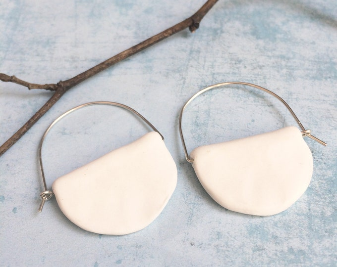 Porcelain hoop earrings - half moon ceramic earrings