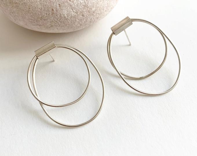 Modern drop open oval earrings - minimalist geometric silver earrings