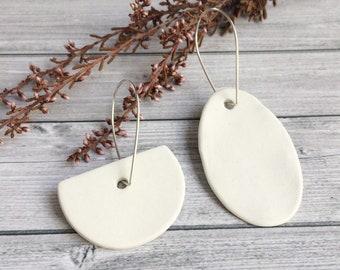 Mismatched geometric earrings , statement porcelain earrings