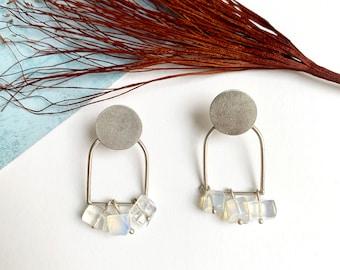 Statement geometric moonstone earrings - modern gemstone arch earrings