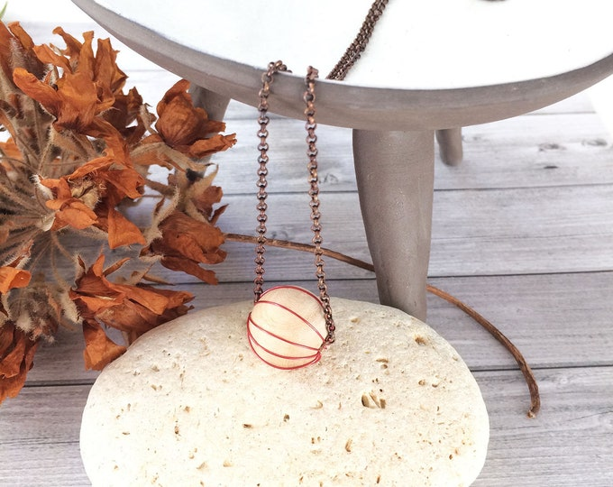 Minimalist wood ball necklace - delicate wood necklace - simple copper necklace