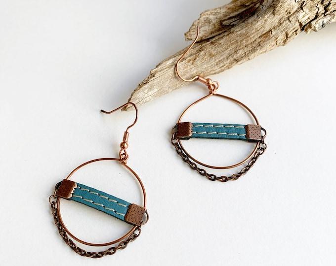 Boho copper hoop earrings , leather circle earrings