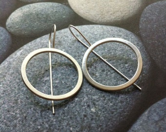 Silver hook earrings - open circle earrings -statement earrings - bold earrings - dangle and drop