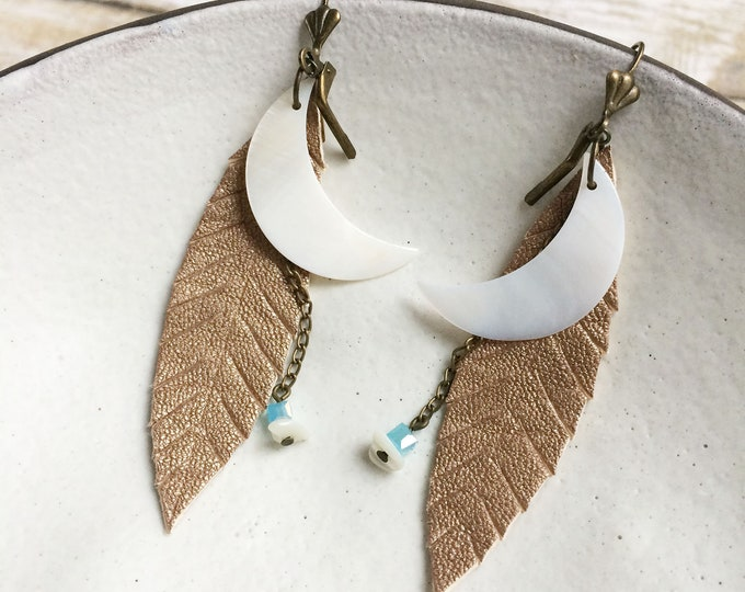 Crescent moon earrings - gold leather feather earrings