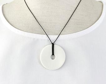 Short minimalist circle necklace - white porcelain circle pendant