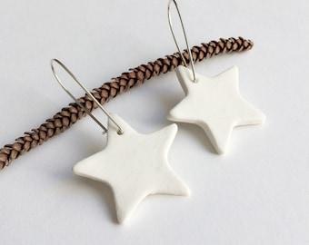 White ceramic big star earrings , statement ceramic earrings