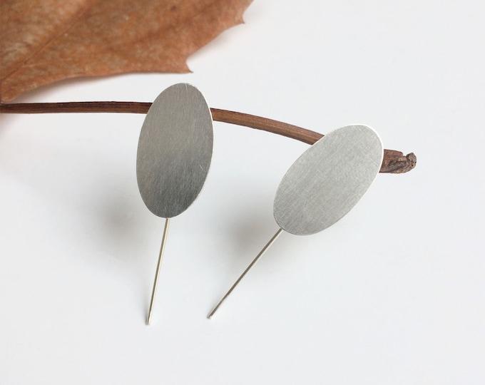 Minimalist oval bar earrings - modern geometric silver earrings
