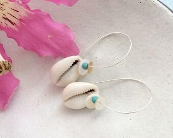 Cowrie shell earrings , boho seashell earrings