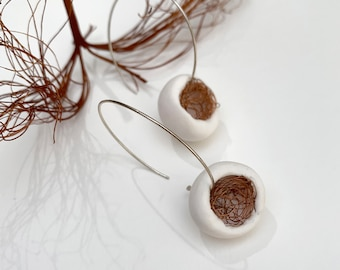 Statement polymer clay cocoon hoops
