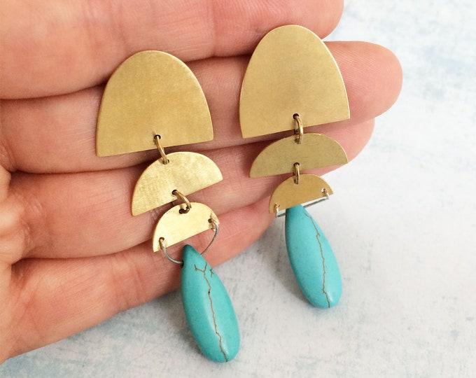 Drop earrings brass - half moon earrings - stud dangle earrings - drop turquoise earrings - geometric earrings - statement brass earrings