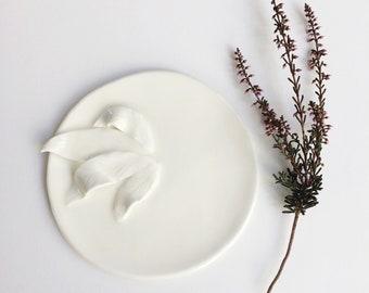 White porcelain leaf plate - decorative jewelry dish - trinket dish