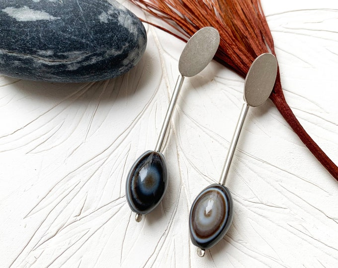 Statement gemstone bar earrings - long dangle agate earrings