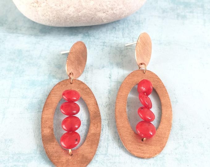 boho copper earrings - stud oval earrings -coral earrings -long geometric earrings -modern earrings -statement earrings -big copper earrings