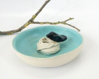 Ceramic bird and nest ring holder - small ceramic jewelry dish
