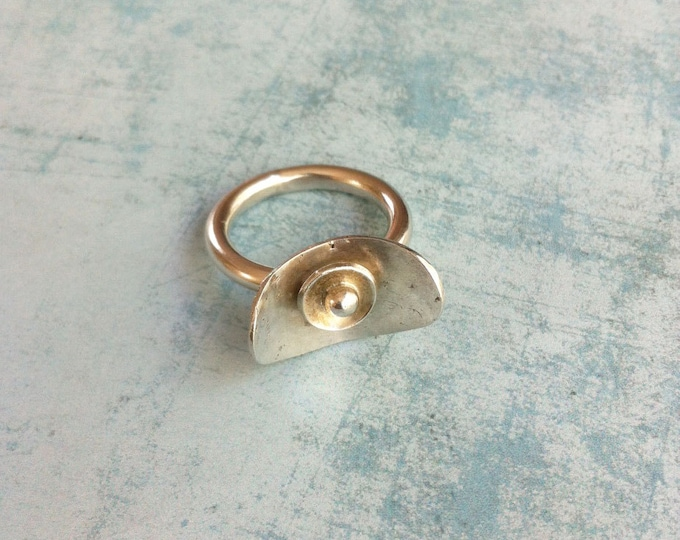 Sterling silver ring - geometric ring -statement ring -orb jewelry