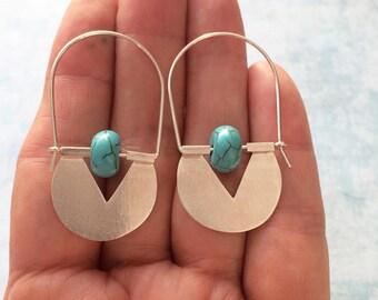 Sterling silver tribal hoop earrings - turquoise earrings - geometric earrings - ethnic earrings -contemporary jewelry -geometric jewellery